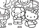 Hello Kitty au Zoo Coloriage